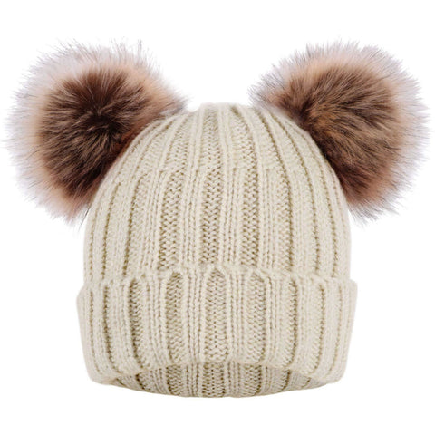 Cable Knit Beanie with Faux Fur Pompom Ears - the cozzee project