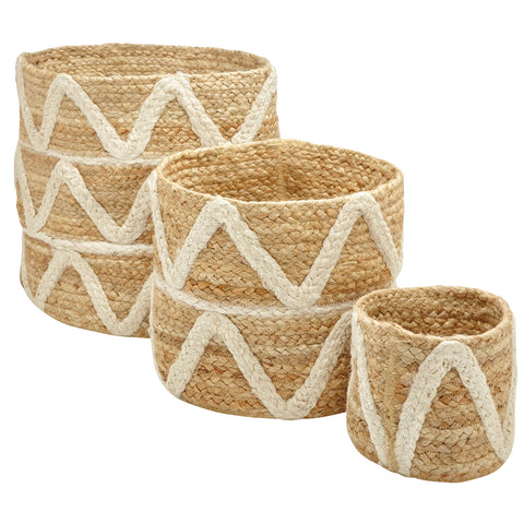 Rivet Modern Braided Zig-Zag Round Basket Set | Set of 3 - the cozzee project