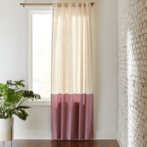 Rivet Casual Two Toned Cotton Linen Curtain Panel - the cozzee project