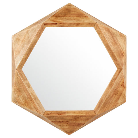 Rivet Hexagon Wood Frame Hanging Wall Mirror - the cozzee project