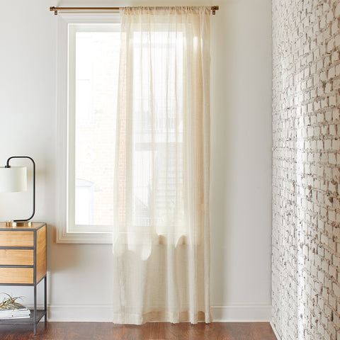 Rivet Semi-Sheer Pin-Stripe Linen Curtain | Ivory - the cozzee project