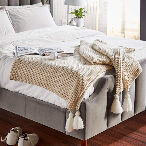 Chenille Knit Tassel Throw Blanket - the cozzee project