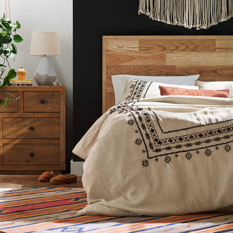 Rivet Global Embroidered Linen Duvet Cover Set - the cozzee project