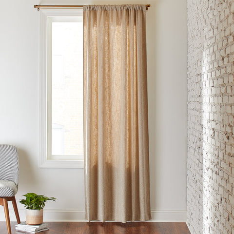 Rivet Mid-Century Modern Tweed Linen Blend Curtain | Cream Pebble - the cozzee project