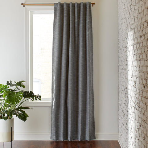 Rivet Textured Blackout Curtain Panel | Grey - the cozzee project