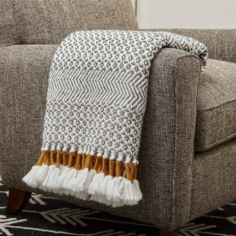 Hand-Woven Stripe Fringe Throw Blanket - the cozzee project