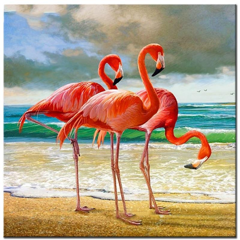 Flamingos Seaside Diamond Painting Kit - DIY