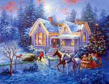 Load image into Gallery viewer, Cabin Christmas Diamond Painting Kit - DIY