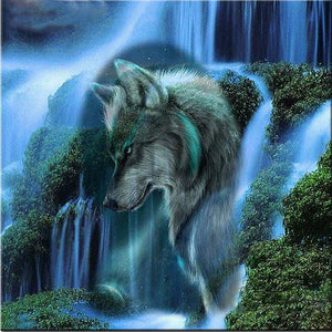 Waterfall Wolf Diamond Painting Kit - DIY