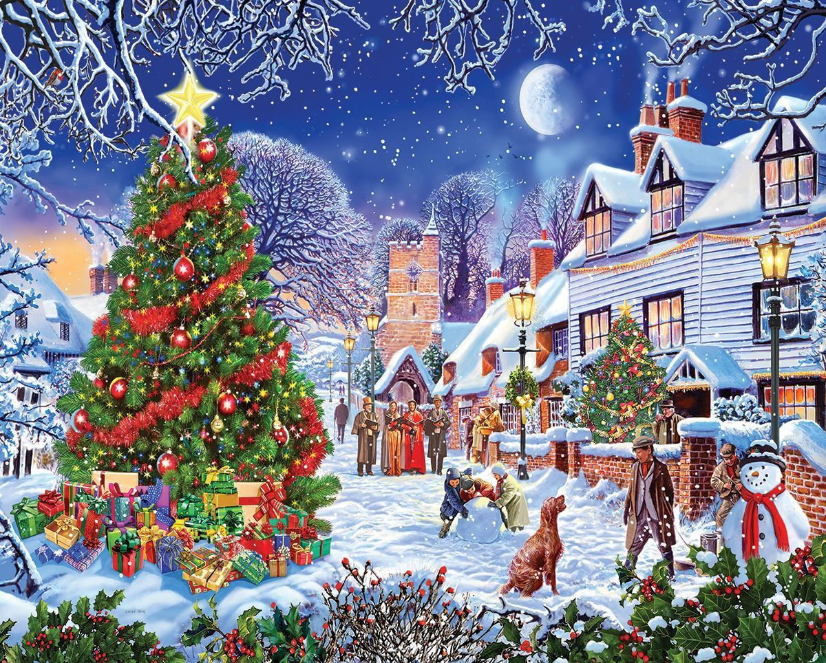 Village Christmas Tree Diamond Painting Kit - DIY