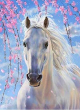 Load image into Gallery viewer, Horse White Blue Diamond Painting Kit - DIY