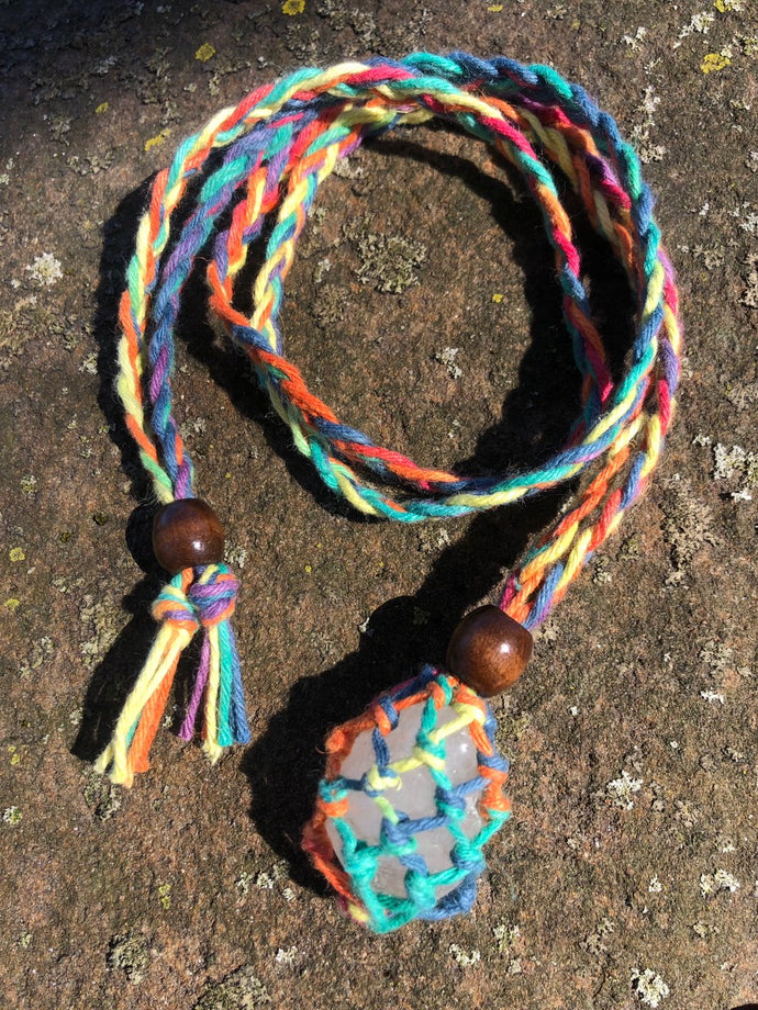 Rainbow Moonstone Hemp Wrap Necklaces (Hemp Gnome)