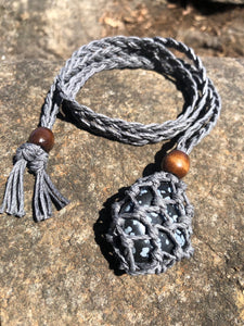 Snowflake Obsidian with Dark Blue Hemp Wrap Necklace (Hemp Gnome)