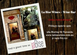 La Bise Wine Bar Open in Tanunda on Fridays