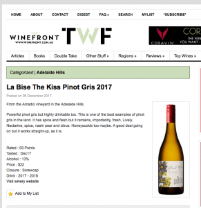 """... One of the best examples of Pinot Gris in the land."""