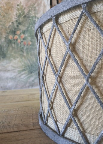 Burlap and Metal Drum Light
