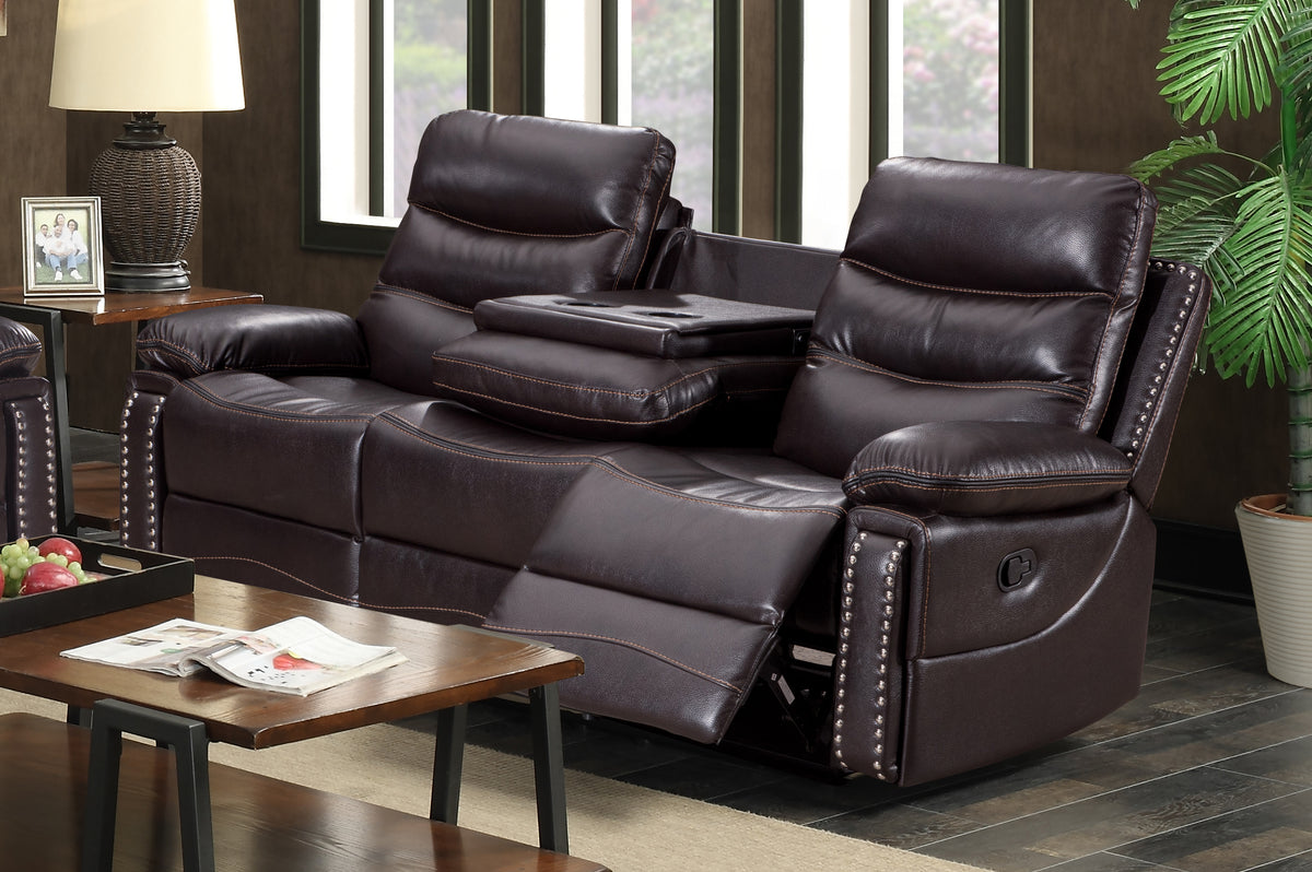 Elite Collection 3 pc Air Leather Recliner Sofa Set with USB & Power  Outlets - Chocolate Brown