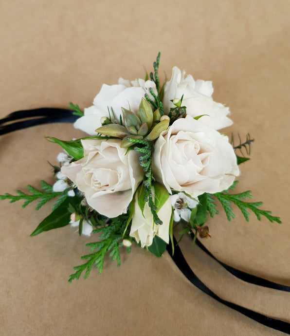 White and Green Corsage