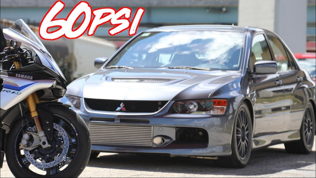 1100HP Sequential Evo IX on 60psi vs Yamaha R1M Superbike - INSANE ACCELERATION!