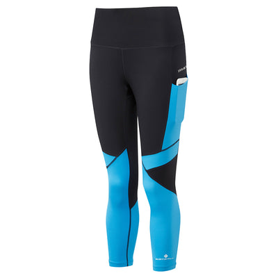 Ronhill Women Stride Revive Crop Tight Black/Sky Blue