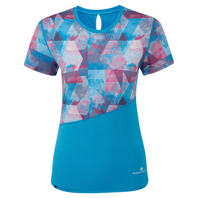 Ronhill Women Stride Revive S/S Tee Sky Blue/Cherryade