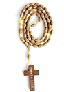 OVAL LINE WOODEN ROSARY(LIGHT BROWN) - sophiabuy