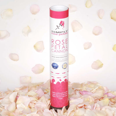 Cream and Pastel Freeze Dried Rose Petal Confetti Cannon