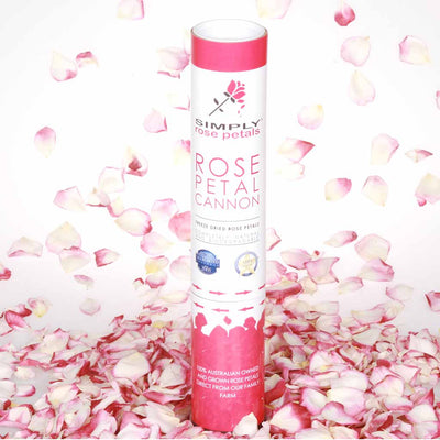 Burgundy Pink and White Rose Petal Confetti Cannon