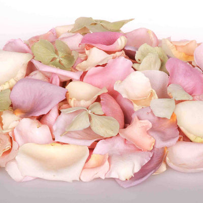 Green Freeze Dried Hydrangea Petals mixed with Pastel Dried Rose Petals