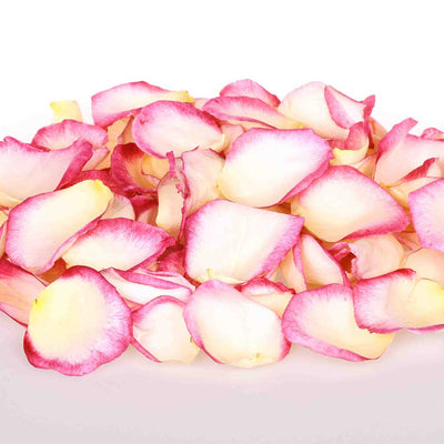 White and pink edible rose petals