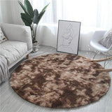 Tapis rond de salon poil marron