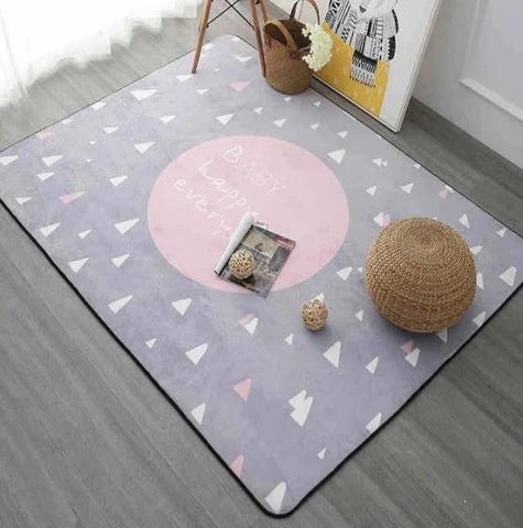 Tapis de salon rond rose