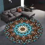 Tapis rond mandala couleur turquoise