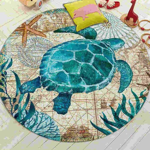 tapis rond tortue