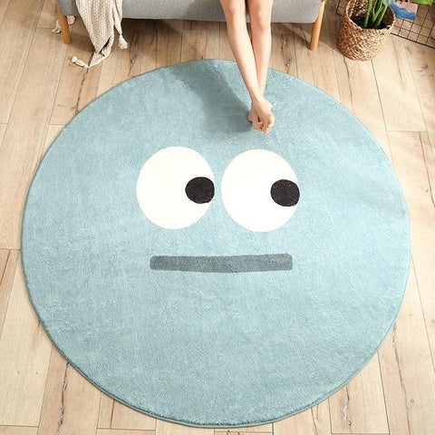 Bleu tapis rond smiley