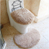 Tapis marron de toilette
