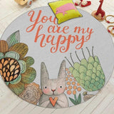You are my happy est le slogant de ce tapis rond lapin