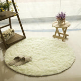 Tapis rond fausses fourrure blan