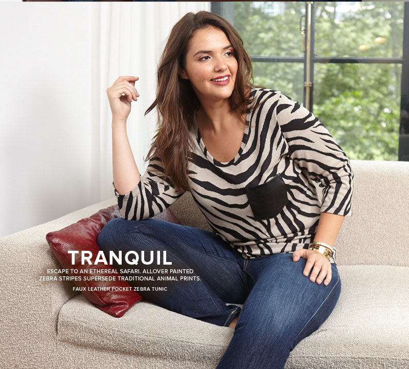 Faux Leather Pocket Zebra Tunic