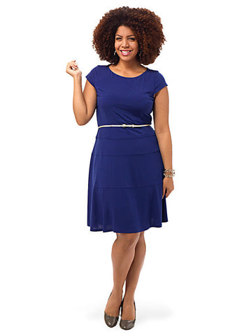 Blue Cap Sleeve Belted Dress