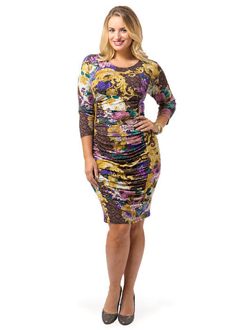 Gathered Panel Dress In Tapestry Print