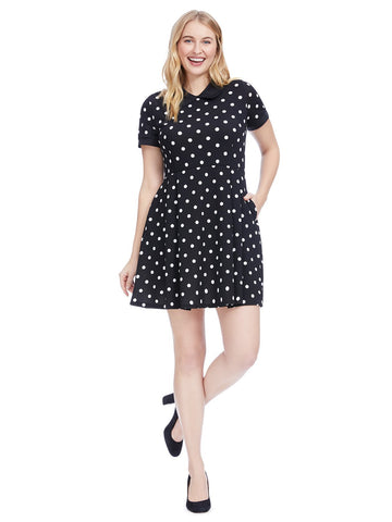 Black And White Dot Fit And Flare Dress