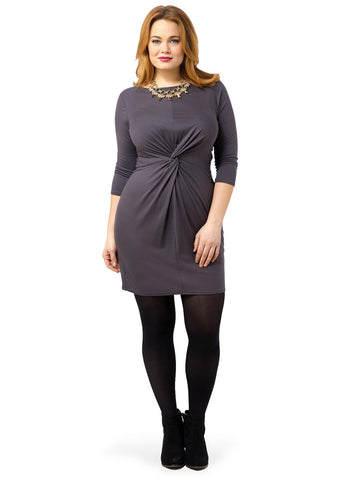 3/4 Sleeve Boat Neck Twist Front Dress In Pavement