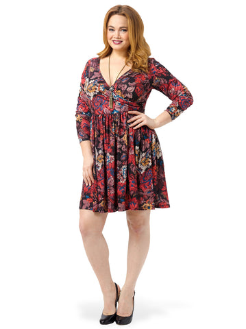 Wrap Skater Dress In Tapestry Floral