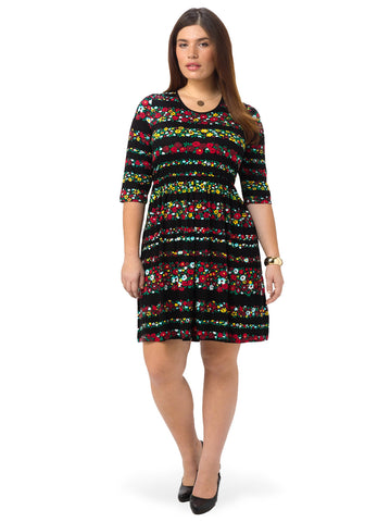 Three Quarter Sleeve Stripe Floral Dress