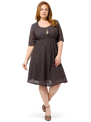 Harlow Lace Dress In Charcoal