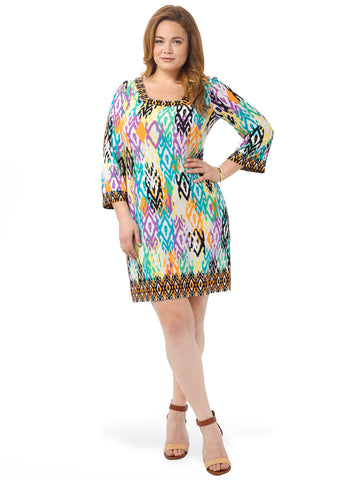 Multi Colored Printed Shift Dress