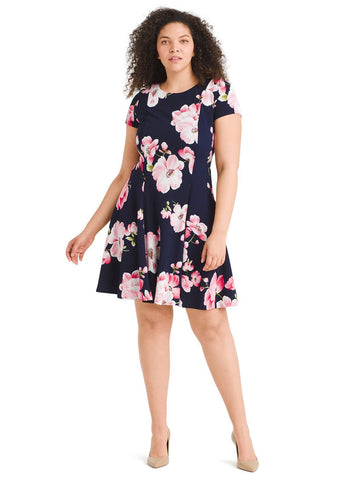 Pink Floral Seamed Fit And Flare Dress