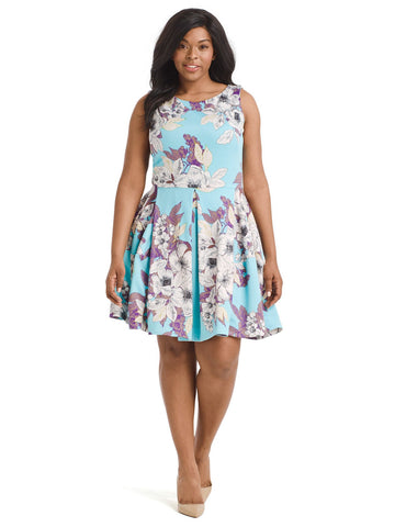 Turquoise Floral Scuba Fit And Flare Dress