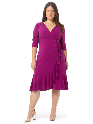 Whimsy Wrap Dress In Magenta